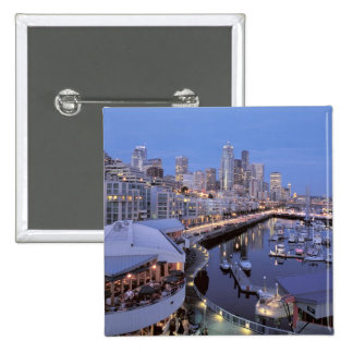Dusk on Bell Harbor in Seattle, Washington. 15 Cm Square Badge