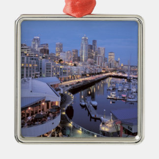 Dusk on Bell Harbor in Seattle, Washington. Christmas Ornament
