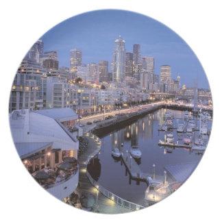 Dusk on Bell Harbor in Seattle, Washington. Plate