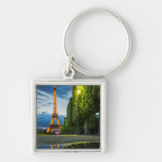 Dusk reflections below the Eiffel Tower Silver-Colored Square Key Ring