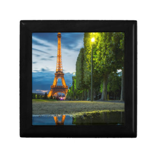 Dusk reflections below the Eiffel Tower Small Square Gift Box