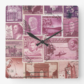 Dusk Sky Ombre Wall Clock, Postage Stamp Art Wallclock