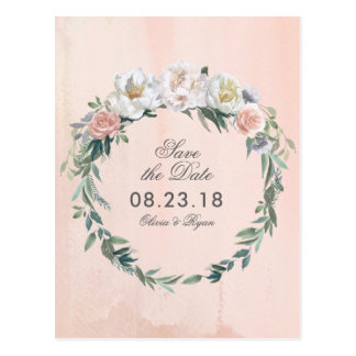 Dusk Watercolor Flower | Save the Date Postcard