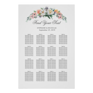 Dusk Watercolor Flower | Seating Chart