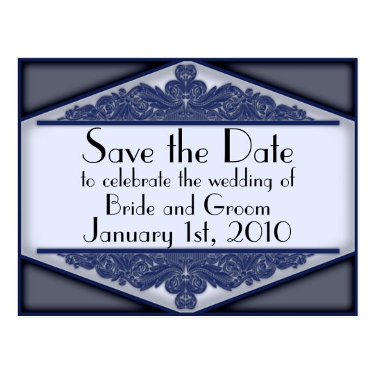 Dusky Blue Vintage, save the date postcard
