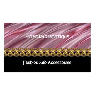 Dusky pink, black, gold chain, monogram pack of standard business cards