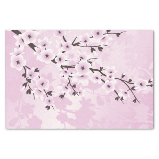 Dusky Pink Cherry Blossom Asia Floral Tissue Paper