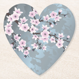 Dusky Pink Grayish Blue Cherry Blossoms Floral Paper Coaster