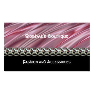 Dusky pink satin style stripes and black pack of standard business cards