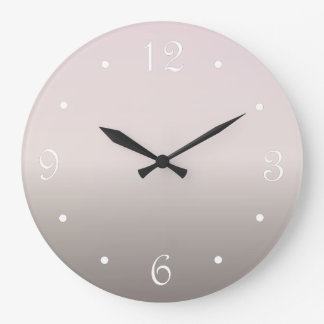 Dusky Pink Taupe Gradient Large Clock