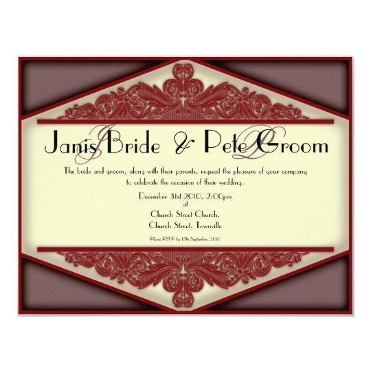 Dusky Pink Vintage-monogrammed, wedding invitation
