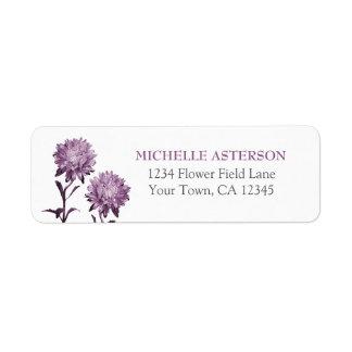 Dusky Purple Aster Return Address Label