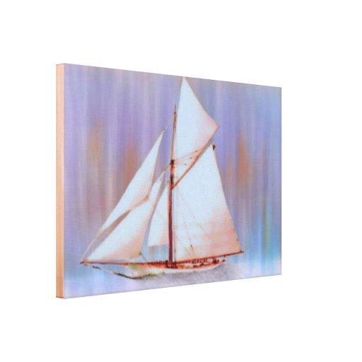 Dusky Sails Stretched Canvas Print