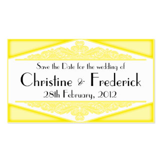 Dusky Yellow Vintage, save the date mini cards Business Card Template
