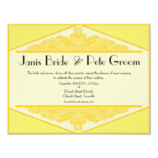Dusky Yellow Vintage, wedding invitation