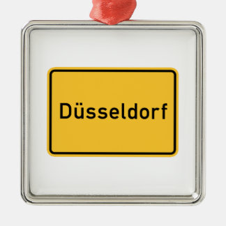 Dusseldorf, Germany Road Sign Christmas Ornament