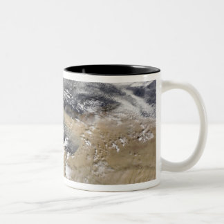 Dust blows off the coast of Libya Two-Tone Coffee Mug