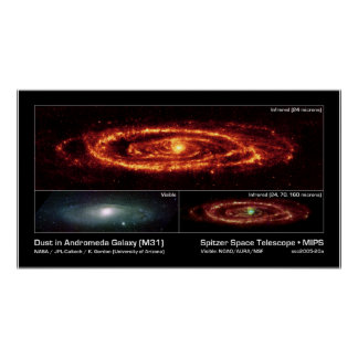 Dust in Andromeda Galaxy (M31) – Spitzer Space Poster