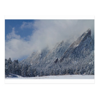 Dusted Flatirons Low Clouds Boulder Colorado Postcard