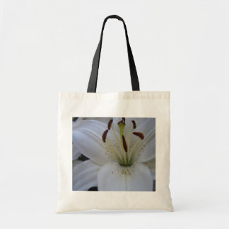 Dusted White Lily Tote Bag