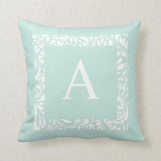 Dusty Aqua Monogram A Throw Pillow