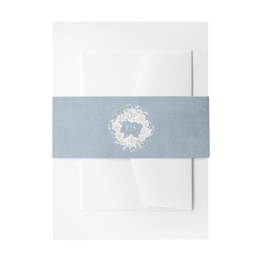 Dusty Blue and Baby's Breath Floral Wreath Invitation