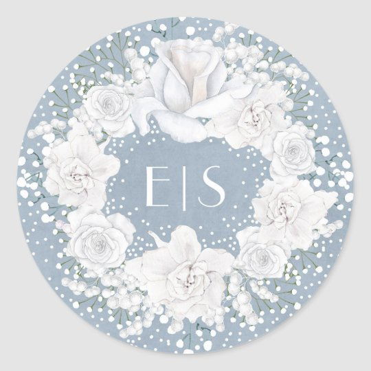 Dusty Blue and Baby's Breath Wedding Classic Round