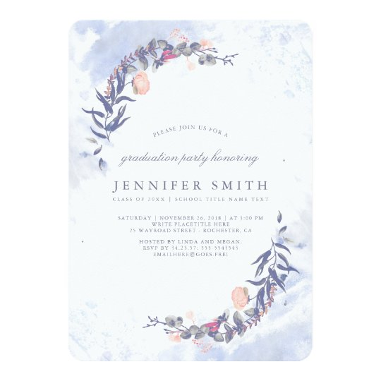 Dusty Blue and Blush Floral Graduation Party Card
