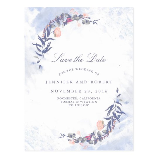 Dusty Blue and Blush Floral Save the Date