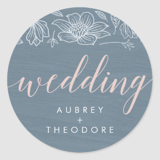 Dusty Blue and Blush Flowers Wedding Stickers