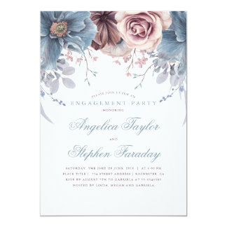 Dusty Blue and Mauve Floral Engagement Party Card