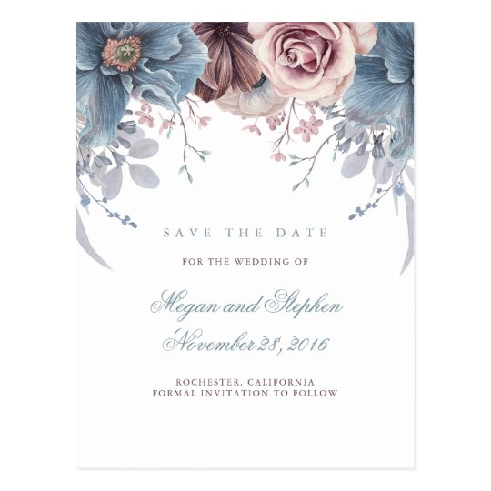 Dusty Blue and Mauve Floral Save the Date