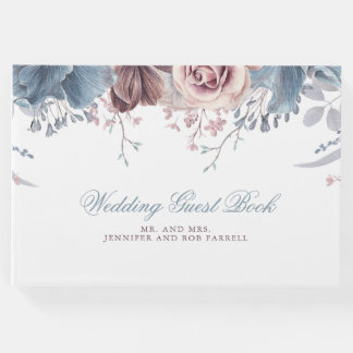 Dusty Blue and Mauve Floral Wedding Guest Book