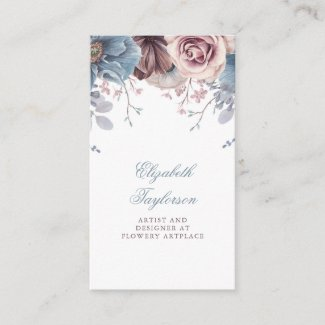 Dusty Blue and Mauve Watercolor Floral Vintage Business Card