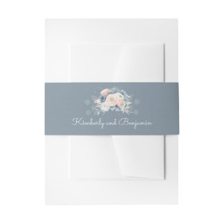 Dusty Blue and Peach Floral Elegant Wedding Invitation Belly Band