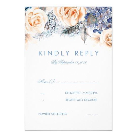 Dusty Blue and Peach Floral Wedding RSVP Card