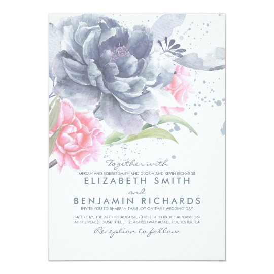 Dusty Blue and Pink Watercolor Floral Wedding Card