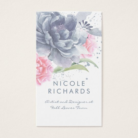 Dusty Blue and Soft Pink Watercolor Floral Elegant