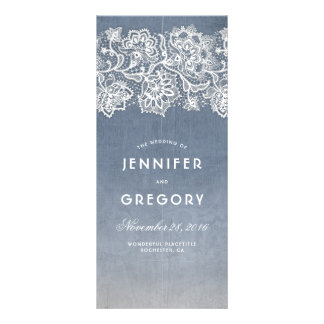 Dusty Blue and Vintage Lace Wedding Programs Rack Card