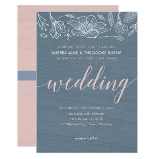 Dusty Blue & Blush Flowers Wedding Invitation Card