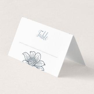 Dusty Blue & Blush Flowers Wedding Place Cards