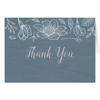 Dusty Blue & Blush Flowers Wedding Thank You Cards