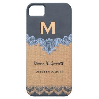 Dusty Blue  Burlap Vintage Monogram Wedding V30U iPhone 5 Case