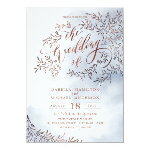 Dusty blue calligraphy rustic floral wedding invitation