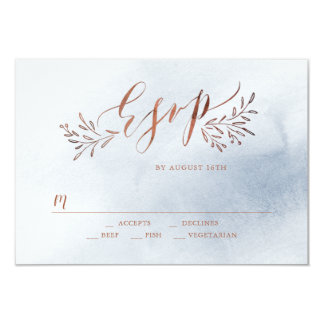 Dusty blue calligraphy rustic floral wedding RSVP Card