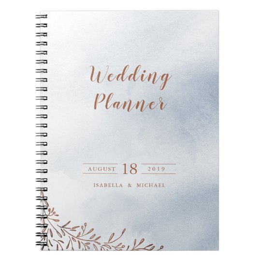 Dusty blue calligraphy rustic wedding planner spiral notebook