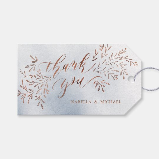 Dusty blue calligraphy thank you rustic floral gift