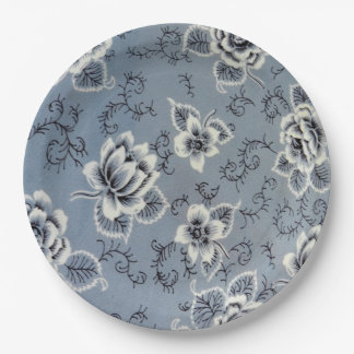 Dusty Blue Colonial Floral Pattern | Plate 9 Inch Paper Plate