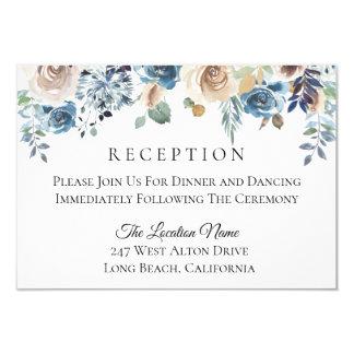 Dusty Blue Cream Floral Wedding Reception Card