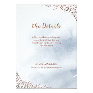 Dusty blue floral rustic wedding insert card